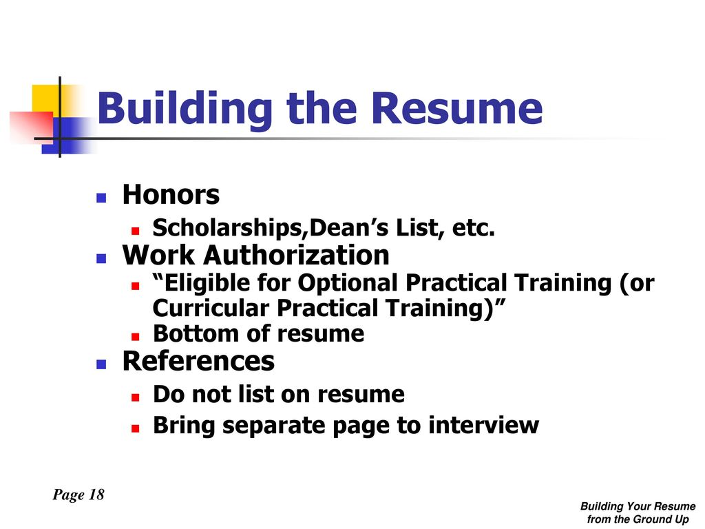 Building Your Resume from the Ground Up - ppt download