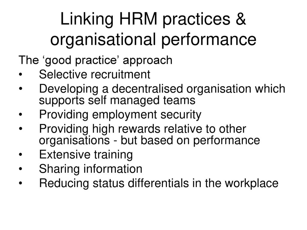 hrm strategy and organisational performance Nowadays, hrm has become an important function in the company and a strategic dimension which led many companies to include in their plans and policies this importance has gone crescendo.