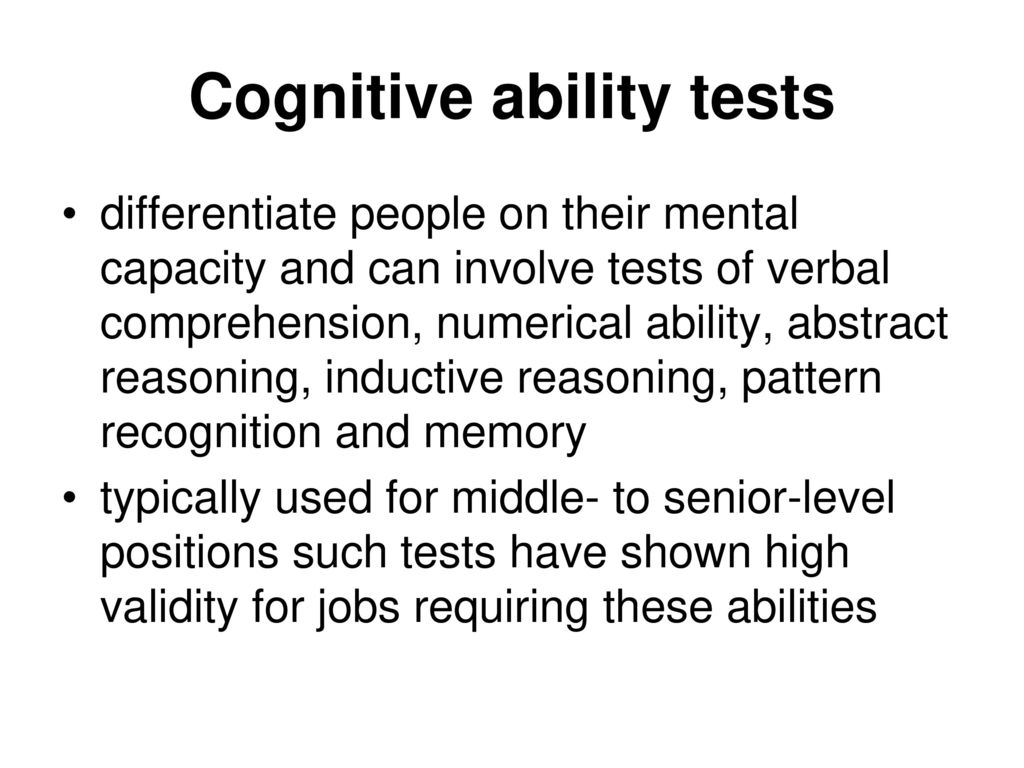 cognitive ability on job performance General cognitive ability tests on the other hand are immune to many of the extraneous factors affecting academic results this means cognitive ability tests allow a more objective understanding of the relationship between cognitive ability and future job performance.