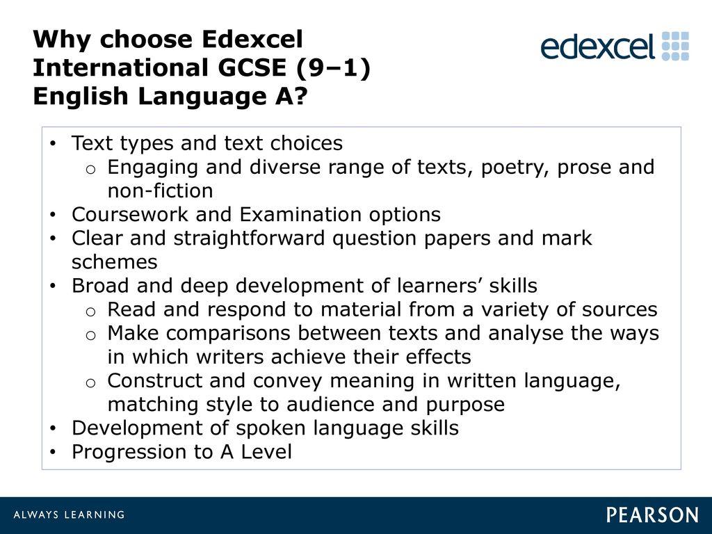 edexcel igcse english coursework