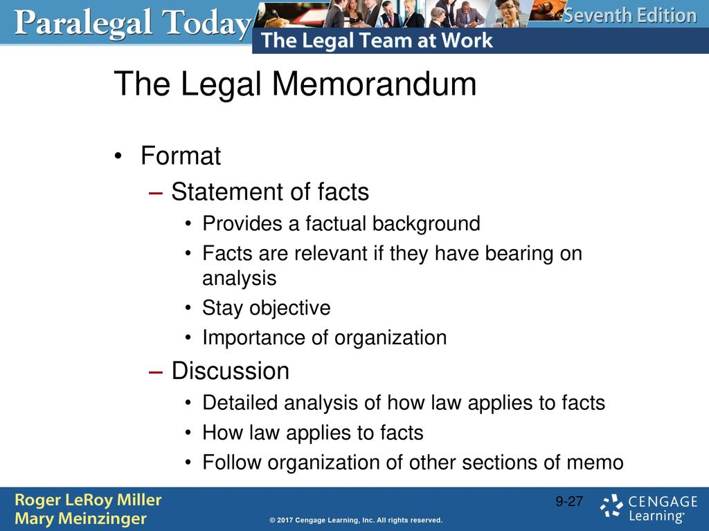 Legal writing form and substance ppt download 27 the legal memorandum format statement of facts discussion altavistaventures Gallery