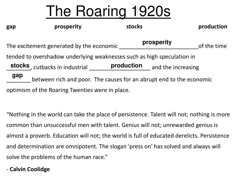 the various economic problmes facing america in the 1920s