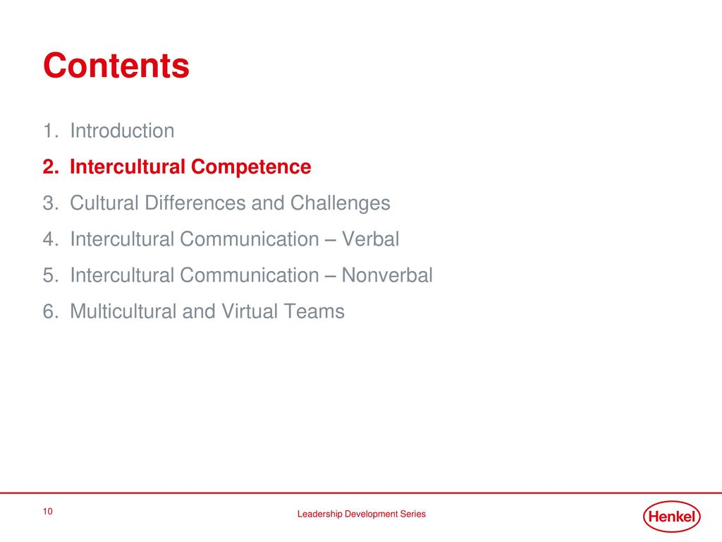 Contents Introduction Intercultural Competence