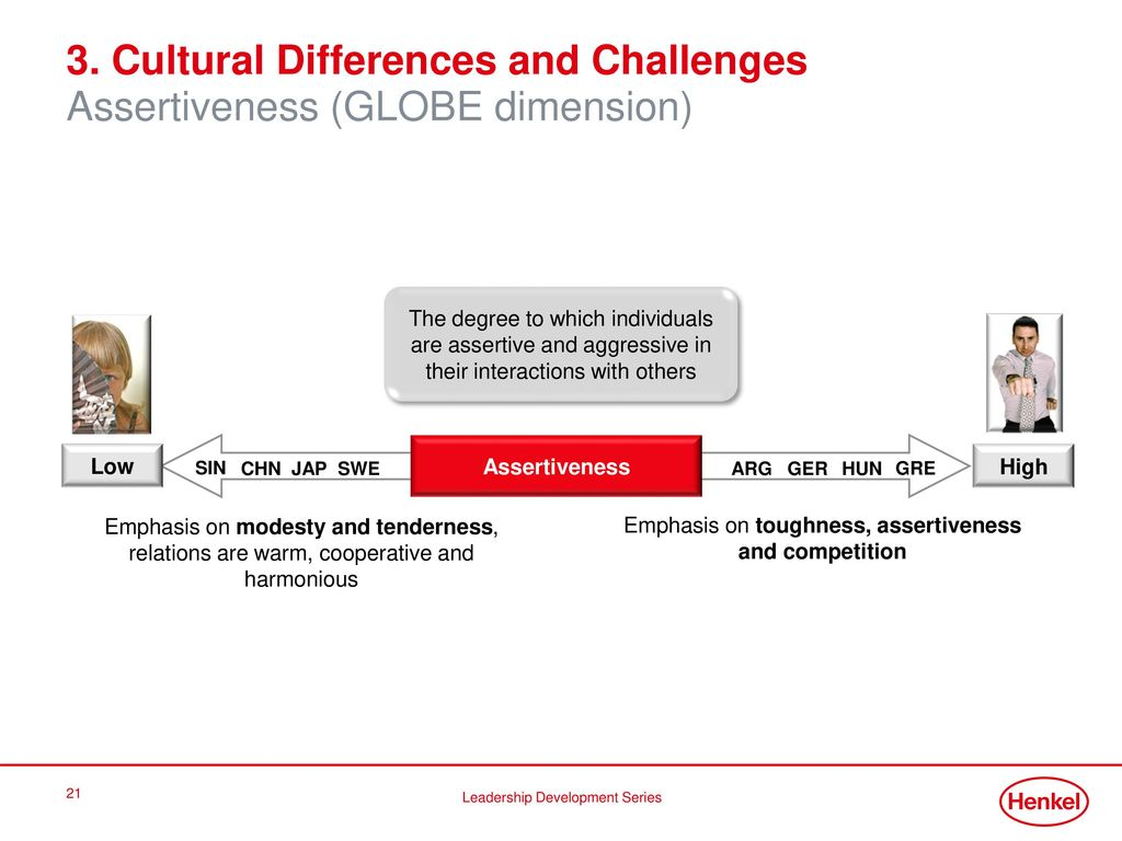 3. Cultural Differences and Challenges Assertiveness (GLOBE dimension)