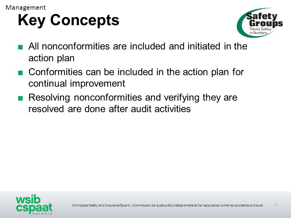 Management Key Concepts. All nonconformities are included and initiated in the action plan.