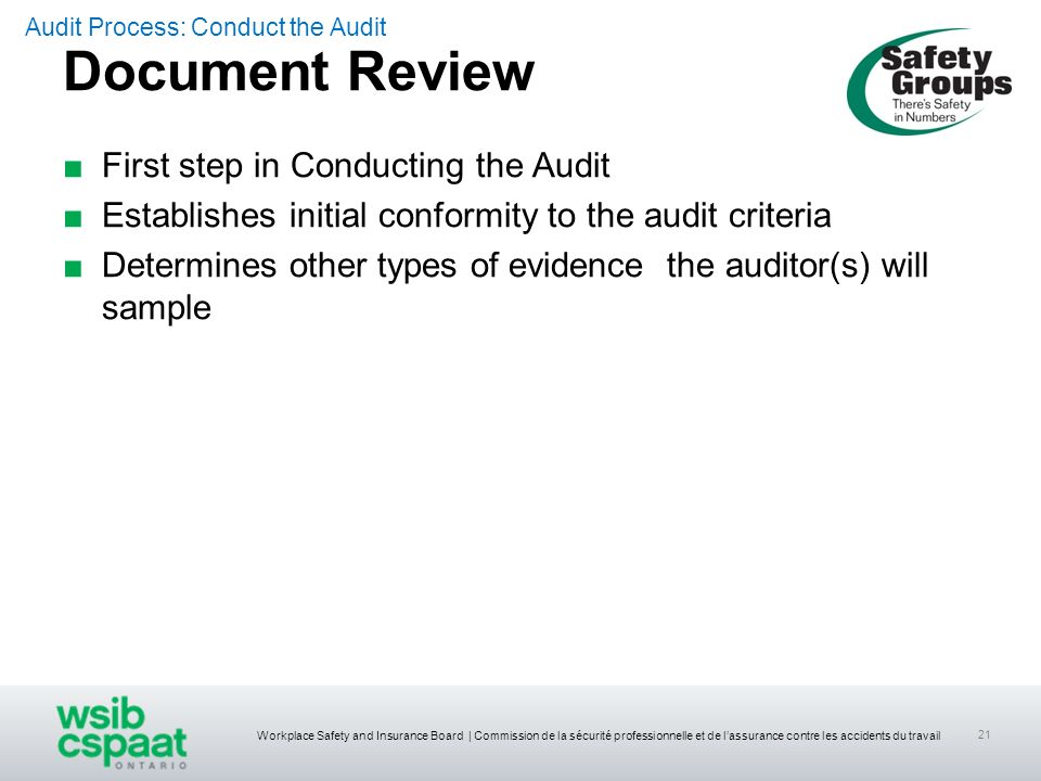 Document Review First step in Conducting the Audit