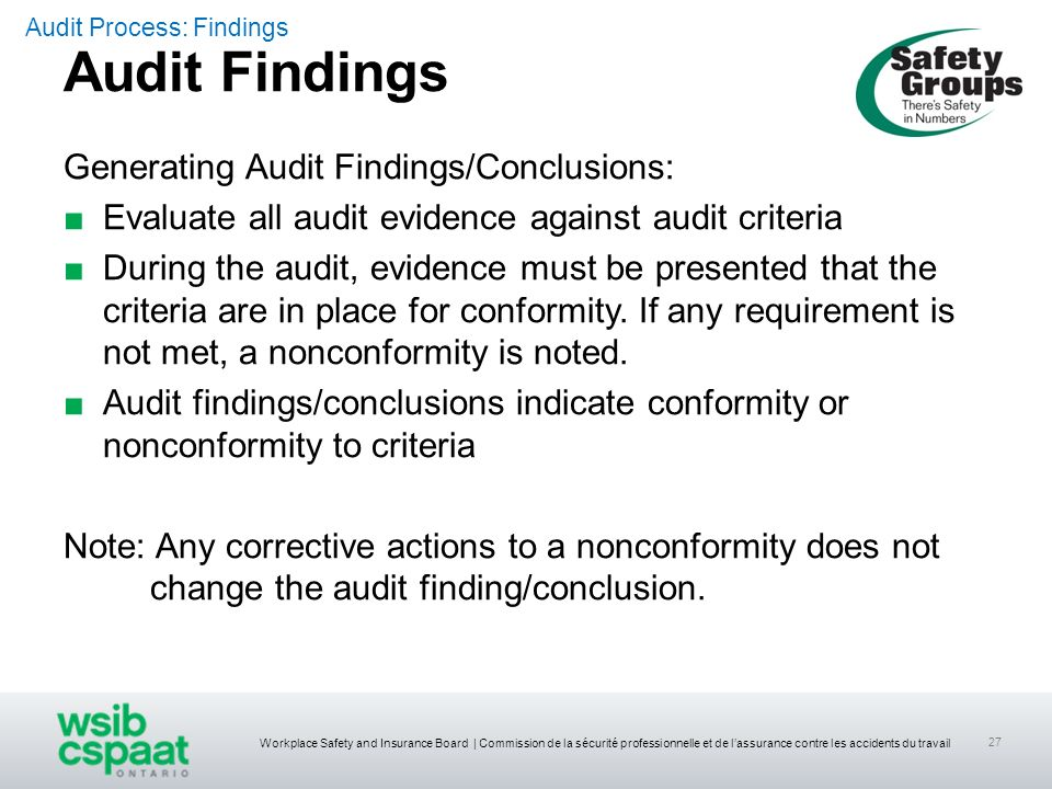 Audit Findings Generating Audit Findings/Conclusions: