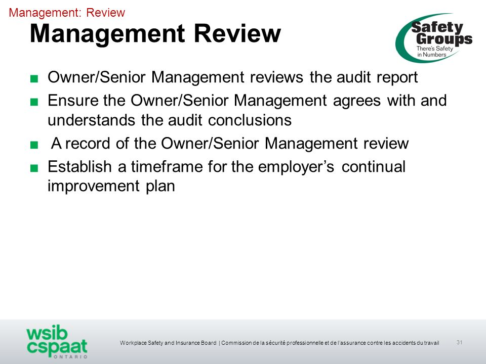 Management Review Owner/Senior Management reviews the audit report