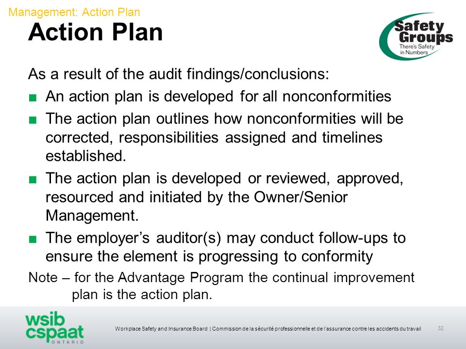 Action Plan As a result of the audit findings/conclusions: