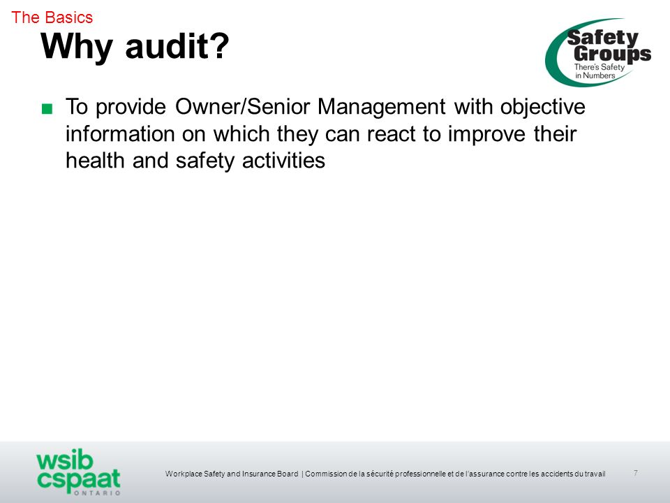 The Basics Why audit