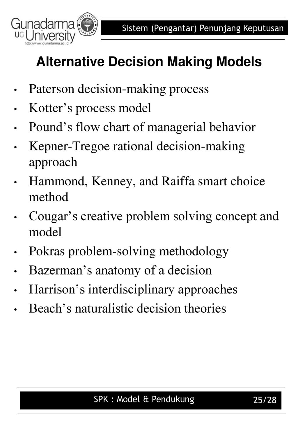 decision making theories and models pdf