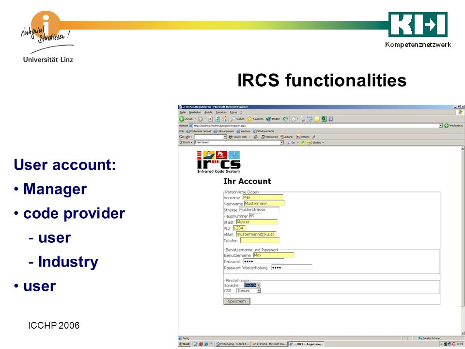 IRCS functionalities User account: Manager code provider user Industry