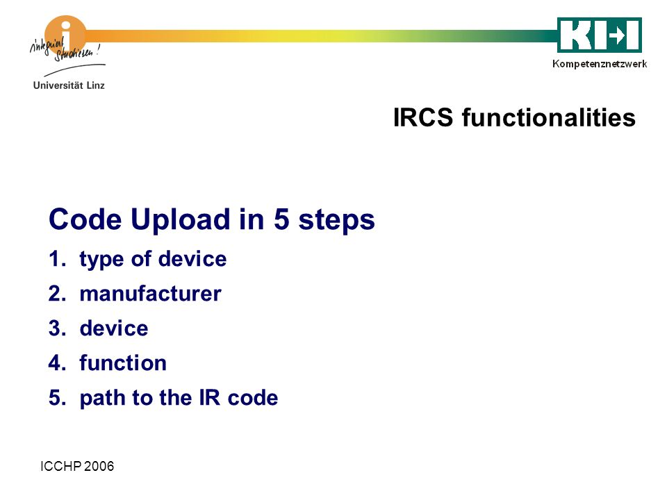 Code Upload in 5 steps IRCS functionalities type of device