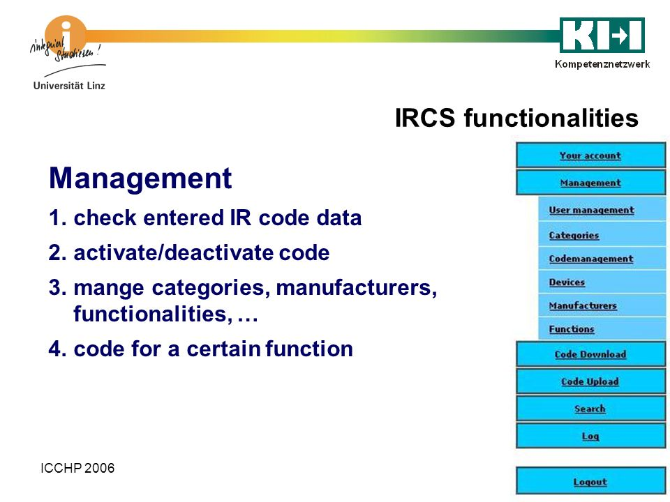 Management IRCS functionalities check entered IR code data