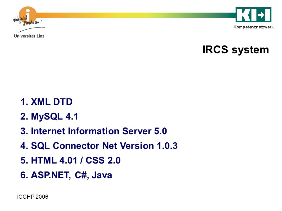 IRCS system XML DTD MySQL 4.1 Internet Information Server 5.0