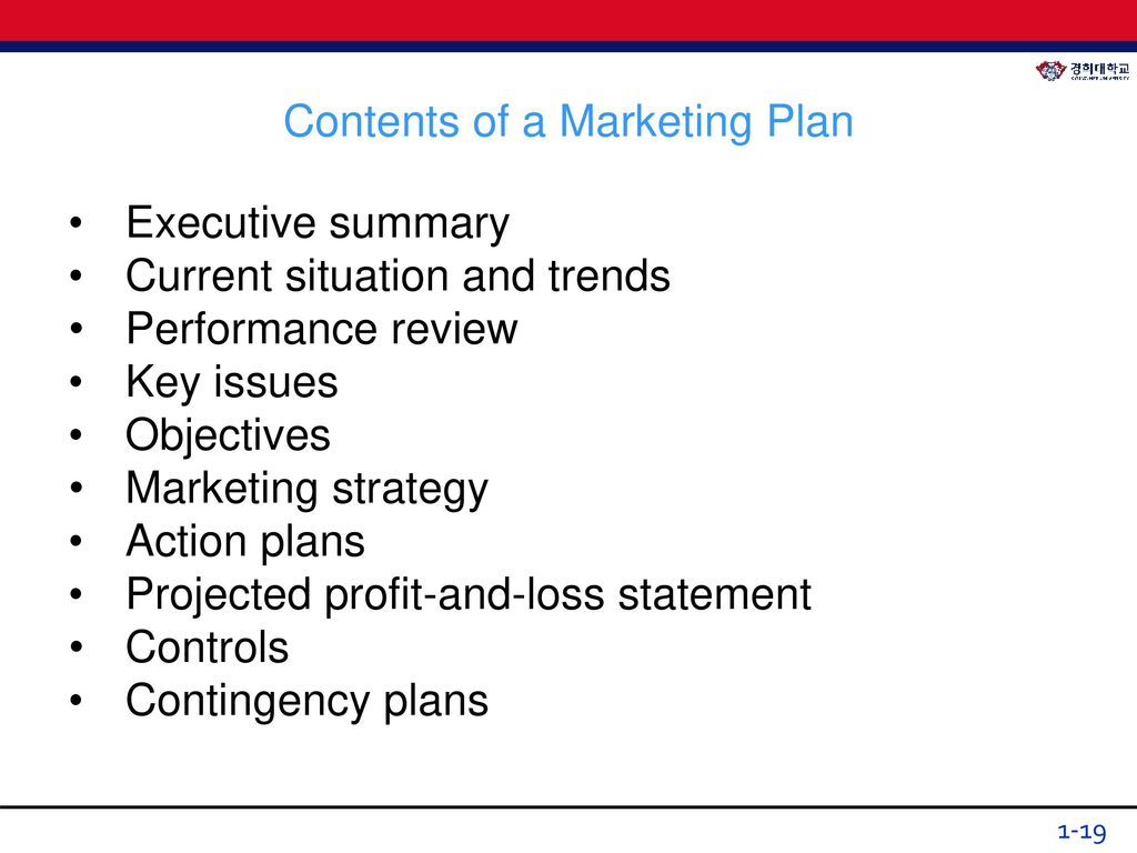 contents of a marketing plan The marketing plan combines - for a given period (one year for example) and a given range of products and services - all aspects of an organizations' marketing.