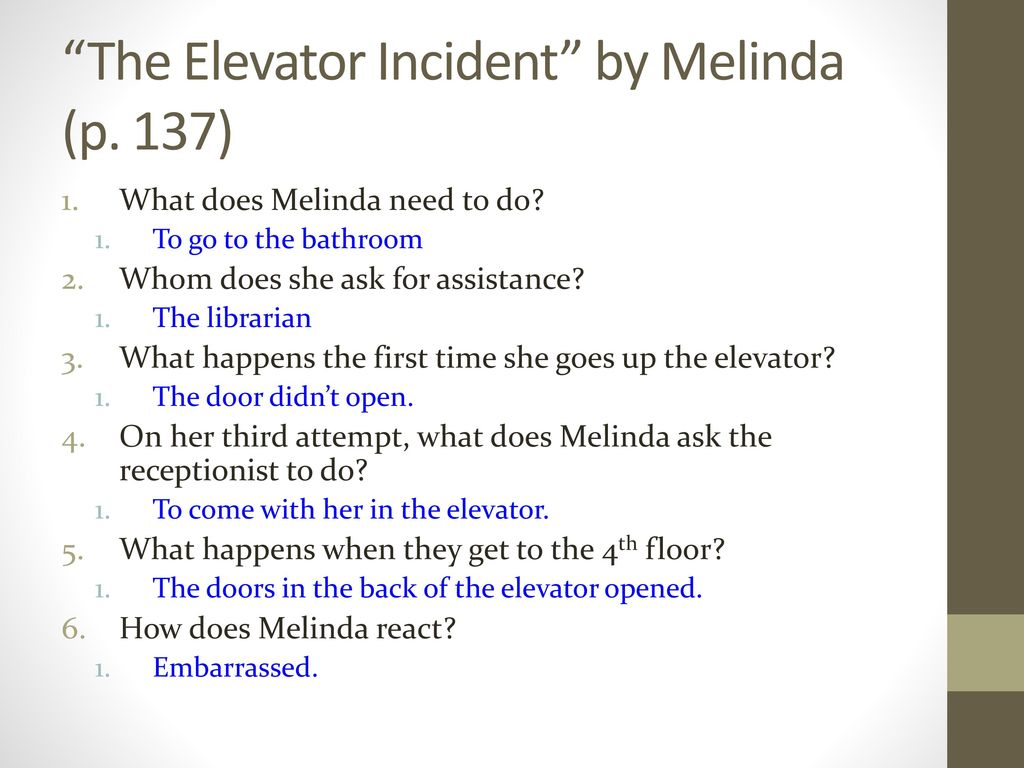 The Elevator Incident by Melinda (p. 137)