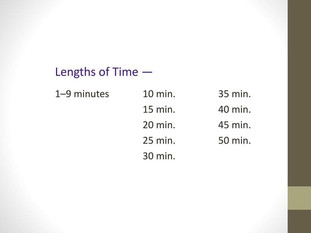 Lengths of Time — 1–9 minutes 10 min. 35 min. 15 min. 40 min.