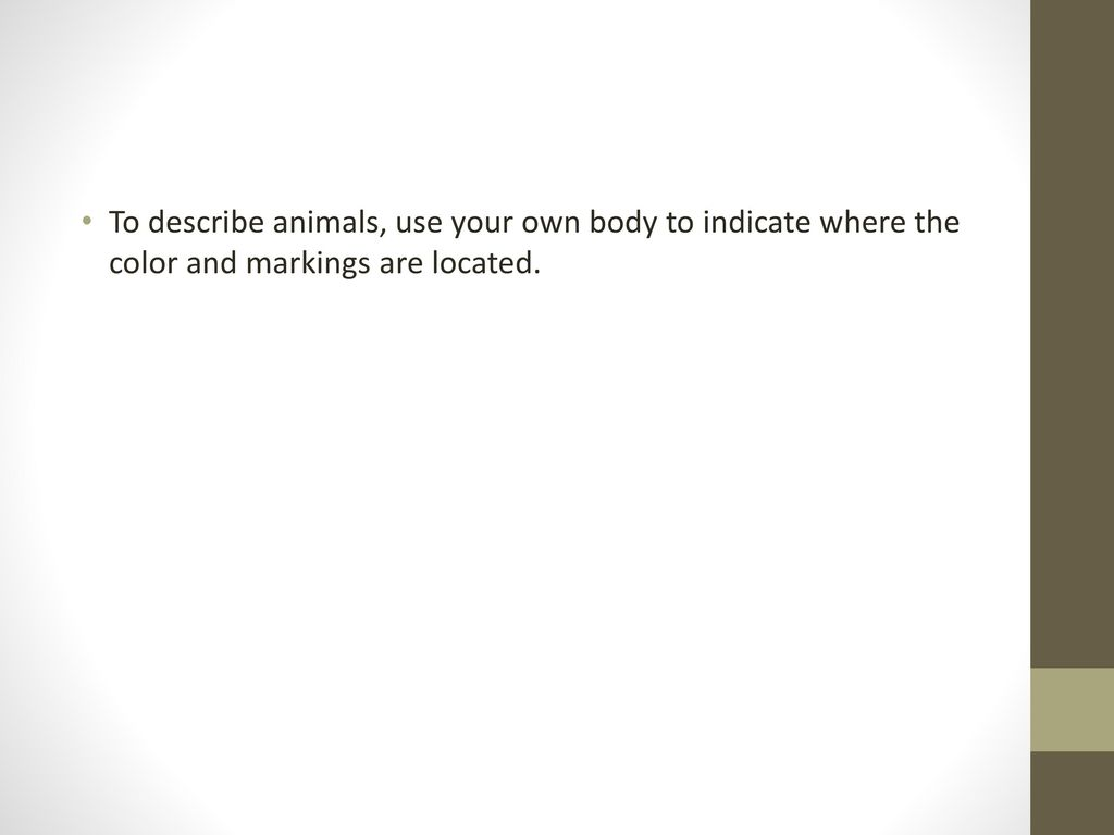 To describe animals, use your own body to indicate where the color and markings are located.