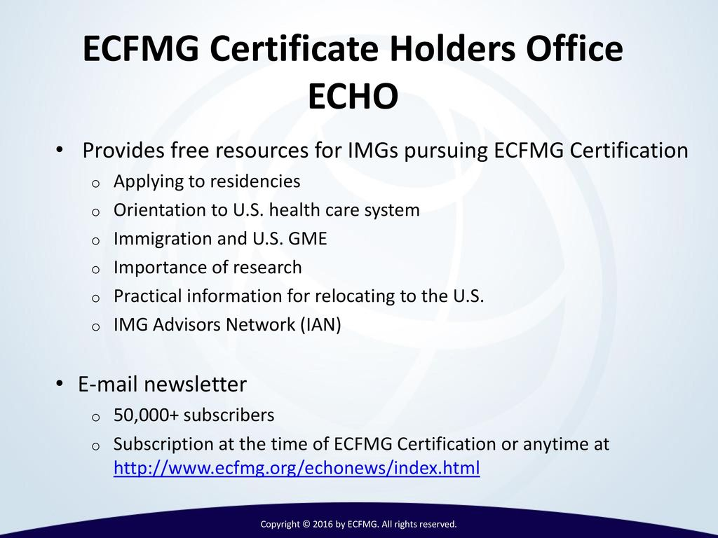 International medical graduates imgs and ppt video online download 17 ecfmg certificate 1betcityfo Images
