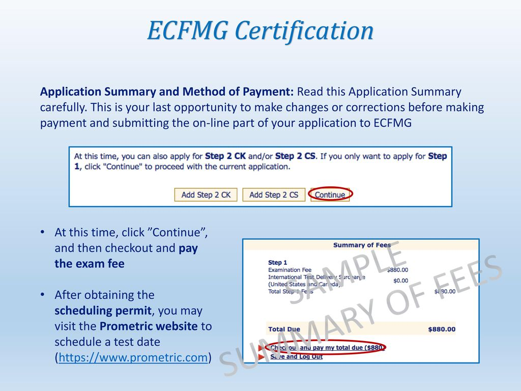 Ecfmg certification step by step guide ppt download sample summary of fees ecfmg certification 1betcityfo Images