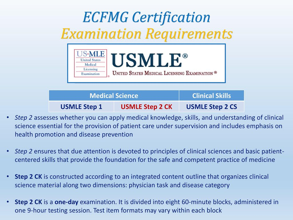 Ecfmg certification step by step guide ppt download 34 examination requirements ecfmg certification examination requirements medical science clinical xflitez Gallery