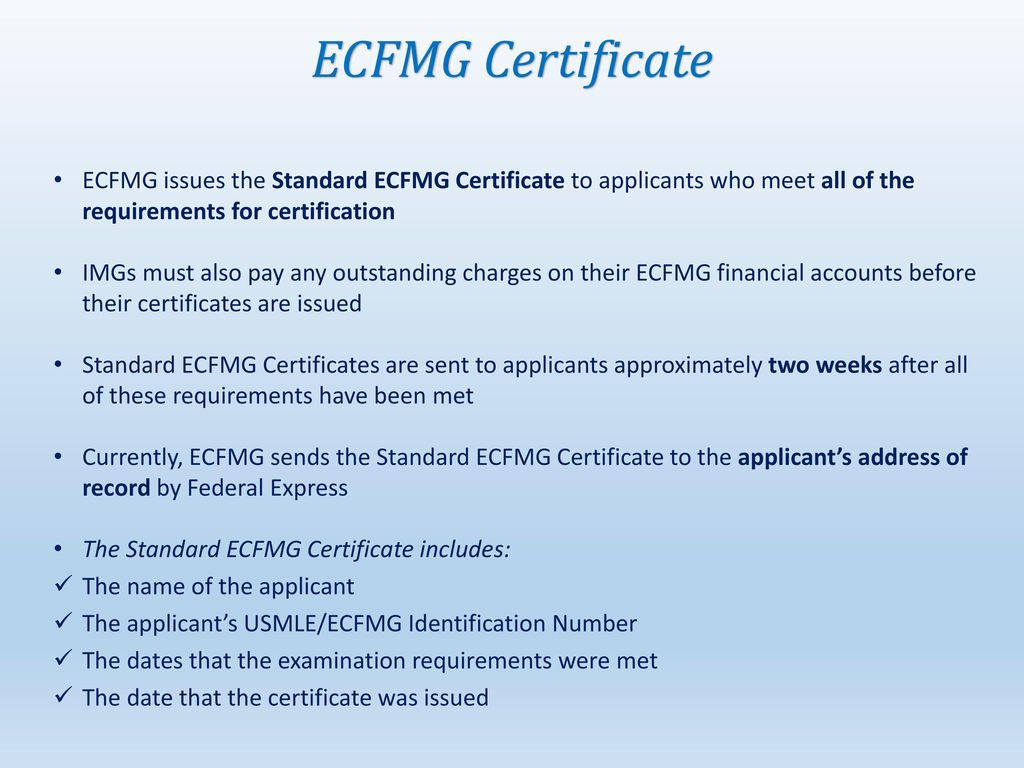 Ecfmg certification step by step guide ppt download 44 ecfmg certificate 1betcityfo Images