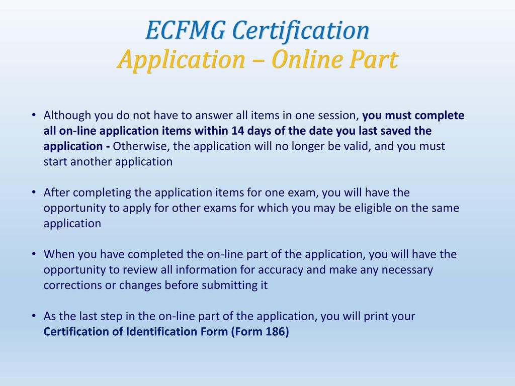 ecfmg form 186 instructions
