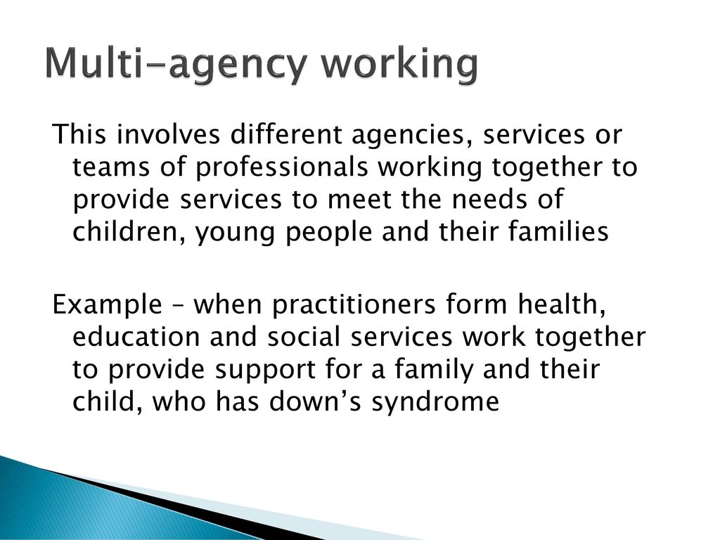 multi agency working together In recent years, multi-agency working has received much attention and has   professionals working together in an integrated way in order to.