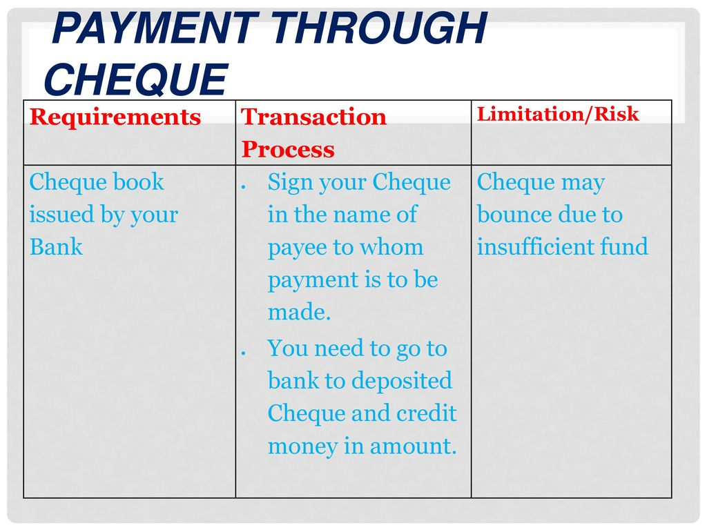 how to make payment through cheque