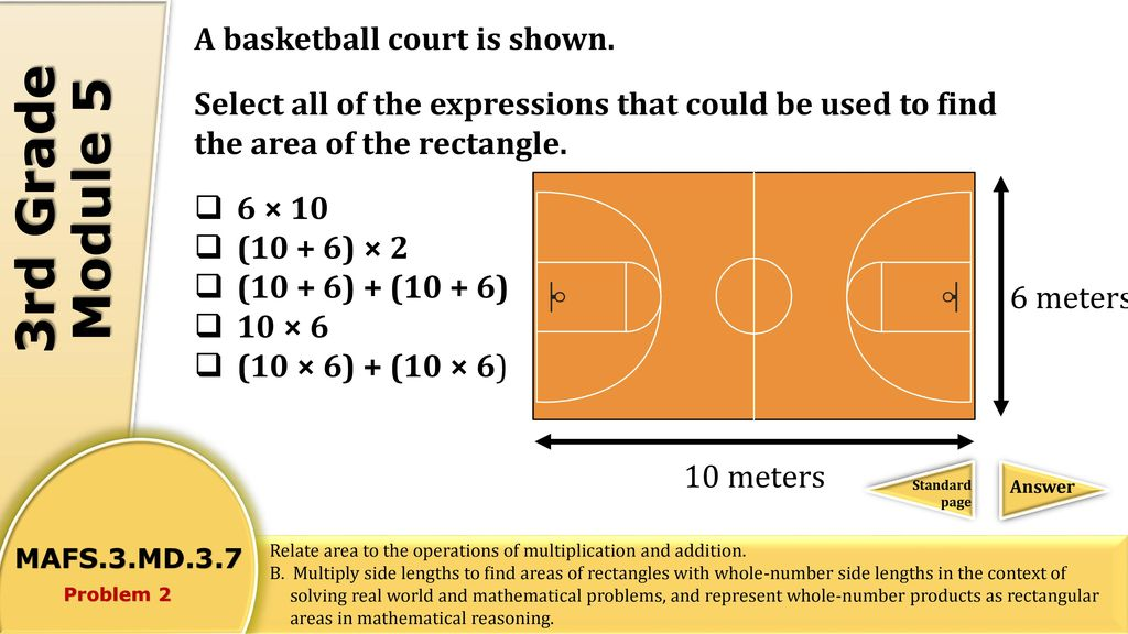 3rd grade module 5 which properties do a rectangle and a for How many square feet is a basketball court