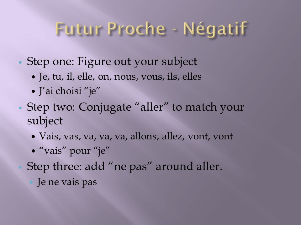 Futur Proche - Négatif Step one: Figure out your subject