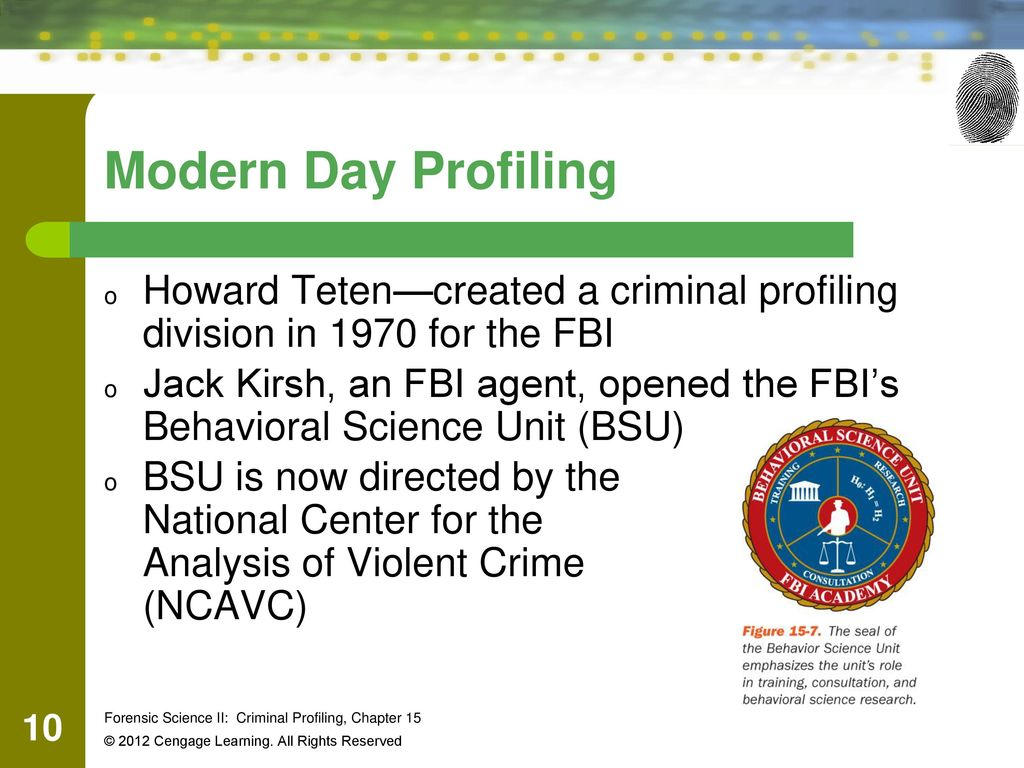 chapter criminal profiling ppt video online  modern day profiling howard teten created a criminal profiling division in 1970 for the fbi