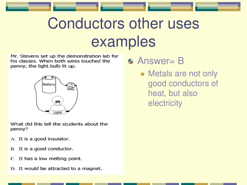 Examples Of Conductors Of Heat : Conductors and insulators ppt download