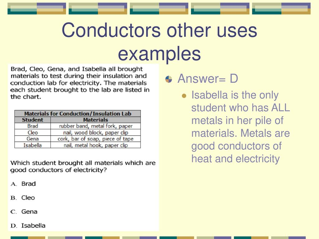 Common Conductors Of Electricity Examples : Conductors and insulators ppt download