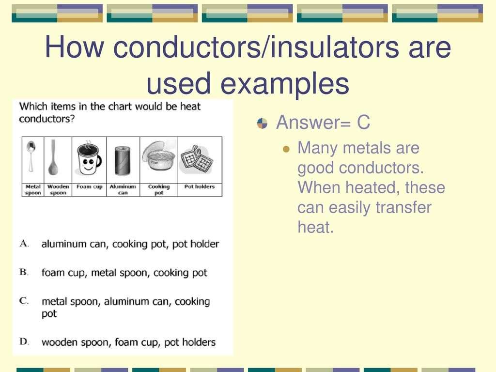 Two Examples Of Conductors : Conductors and insulators ppt download