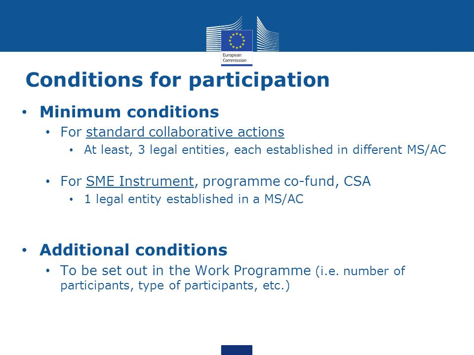 Conditions for participation