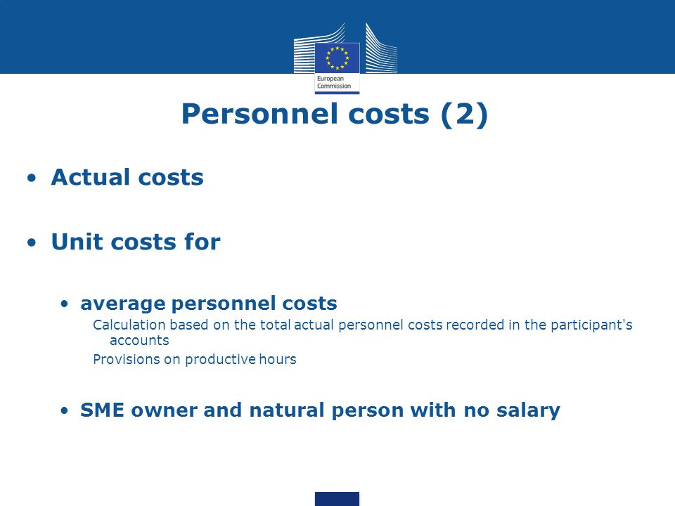 Personnel costs (2) Actual costs Unit costs for