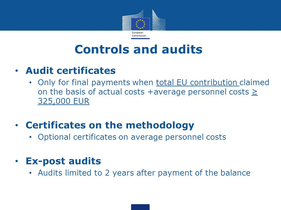 Controls and audits Audit certificates Certificates on the methodology