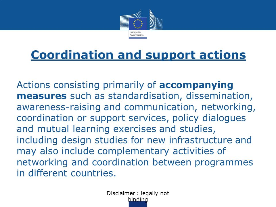 Coordination and support actions