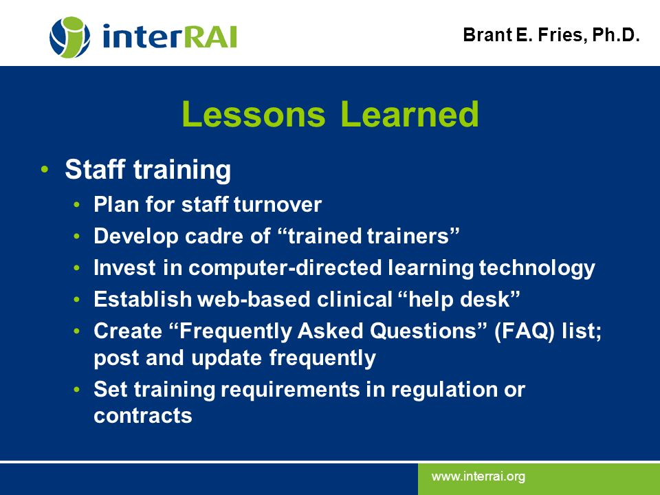 Lessons Learned Staff training Plan for staff turnover