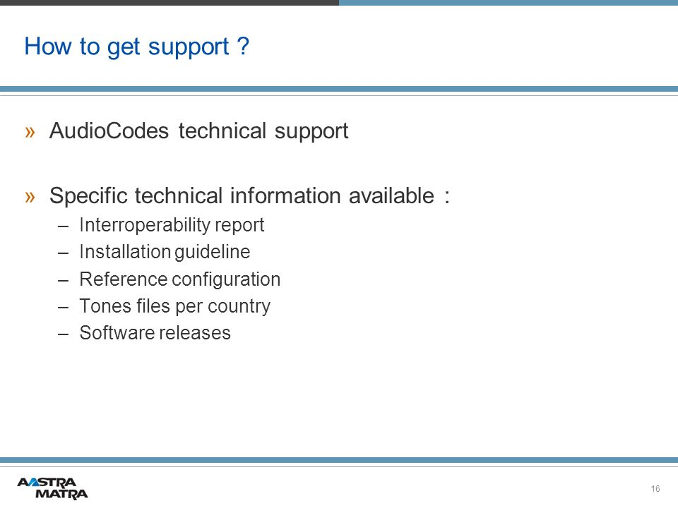 How to get support AudioCodes technical support