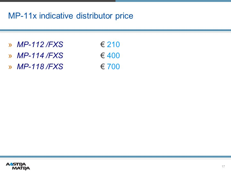 MP-11x indicative distributor price