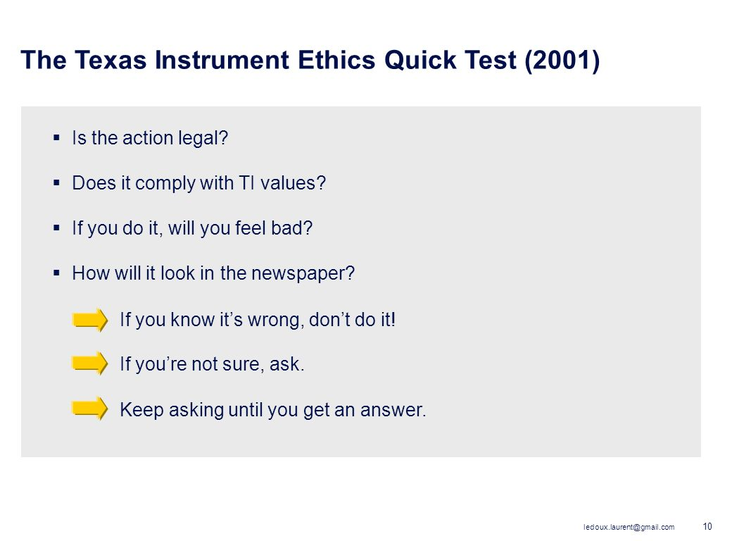 The Texas Instrument Ethics Quick Test (2001)