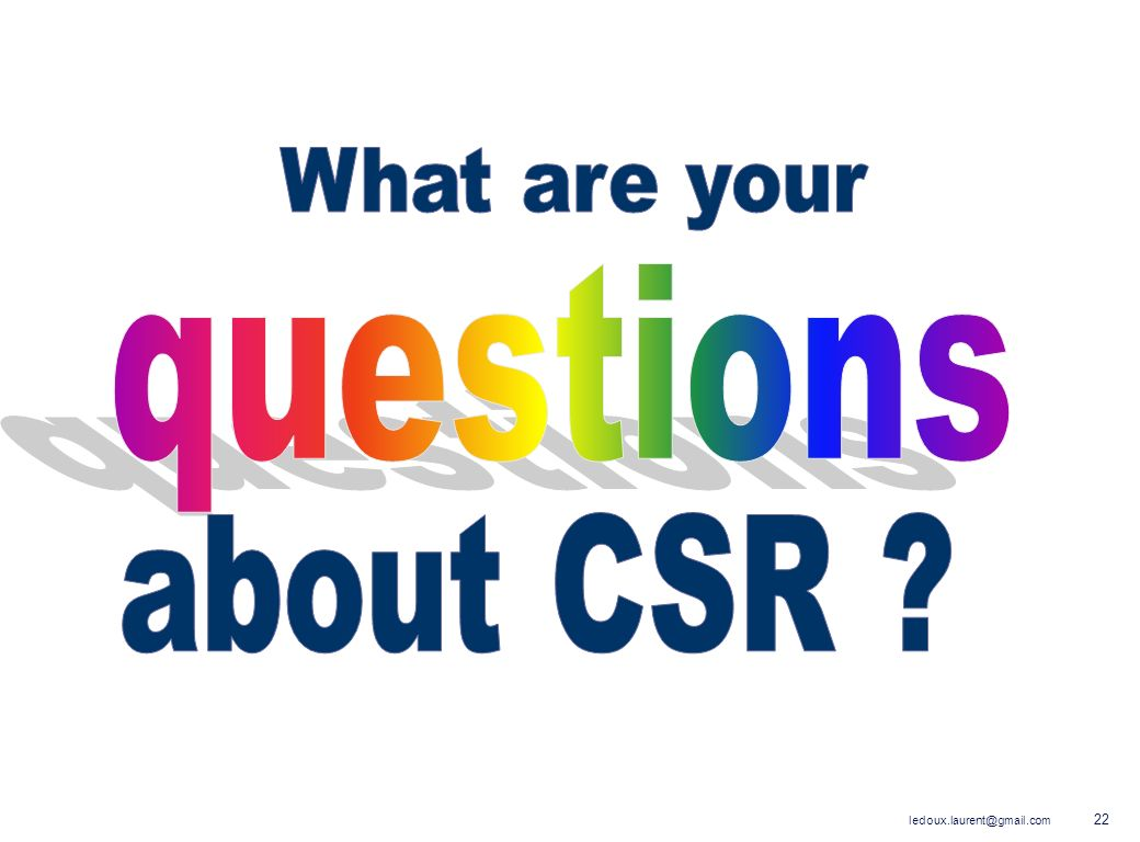 What are your questions about CSR