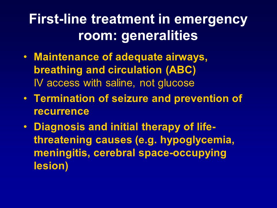 First-line treatment in emergency room: generalities