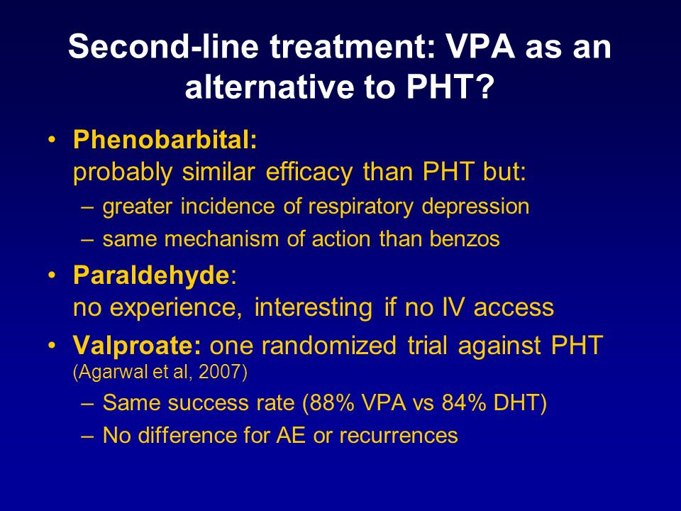 Second-line treatment: VPA as an alternative to PHT