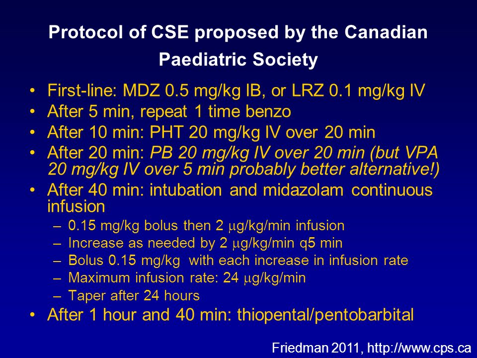 Protocol of CSE proposed by the Canadian Paediatric Society