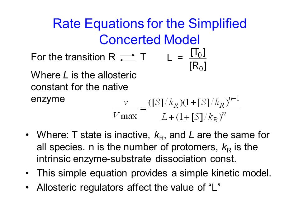 Rate Equations for the Simplified Concerted Model