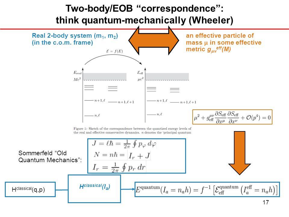 Two-body/EOB correspondence : think quantum-mechanically (Wheeler)